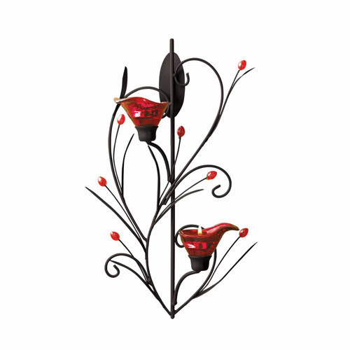 ruby blossom tealight wall sconce