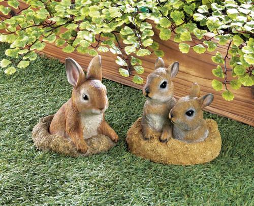 bunny garden decor set