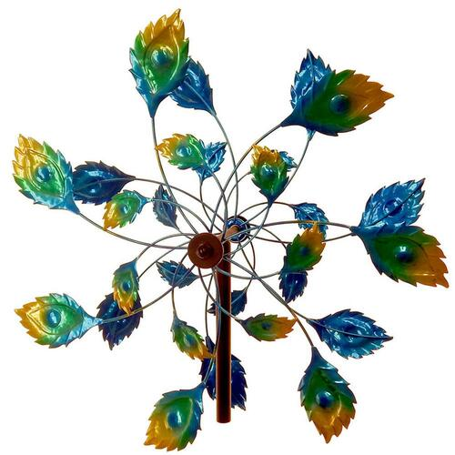 peacock tail windmill garden stake