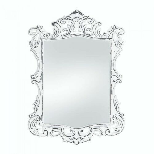 regal white distressed wall mirror