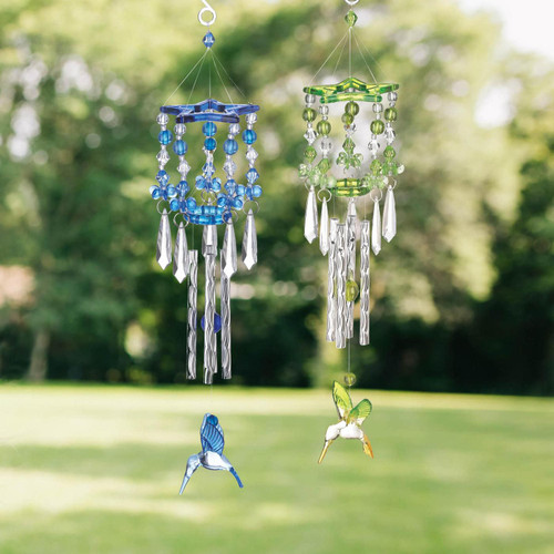 blue and green hummingbird wind chimes