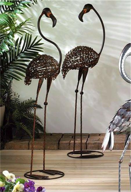 wild flamingo garden art duo