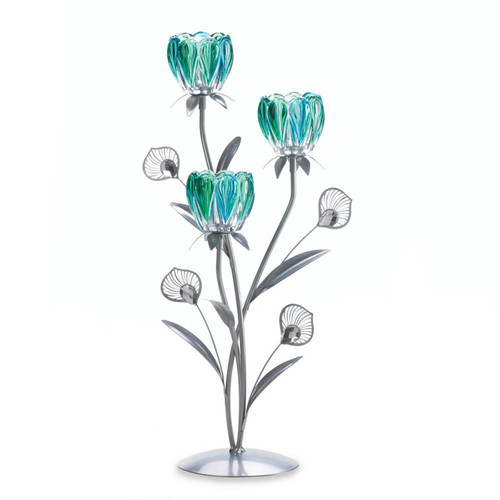 triple peacock bloom candleholder