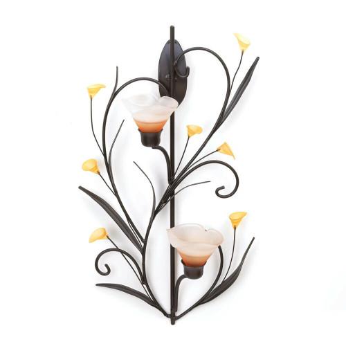 amber lilies candleholder