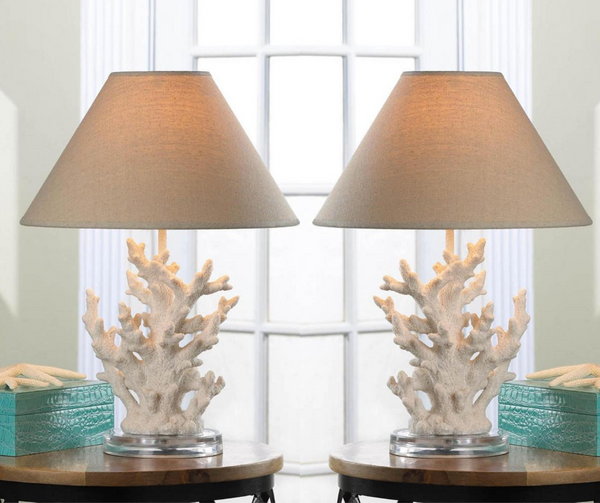 coral table lamps