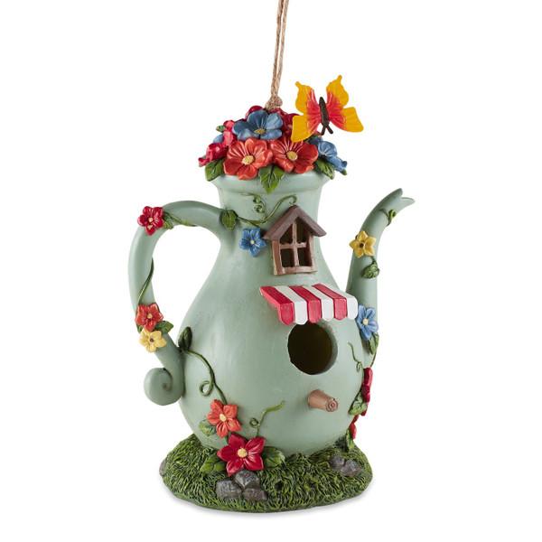 Tall Teapot Resin Hand Painted Birdhouse