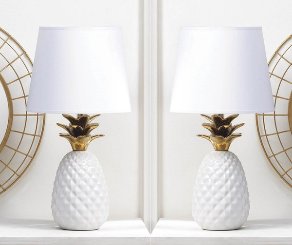 Gold Topped Pineapple Lamps