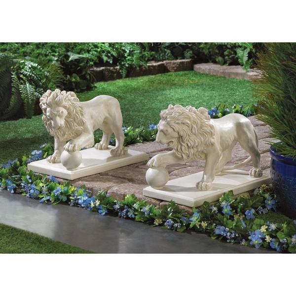 regal lion statue duo