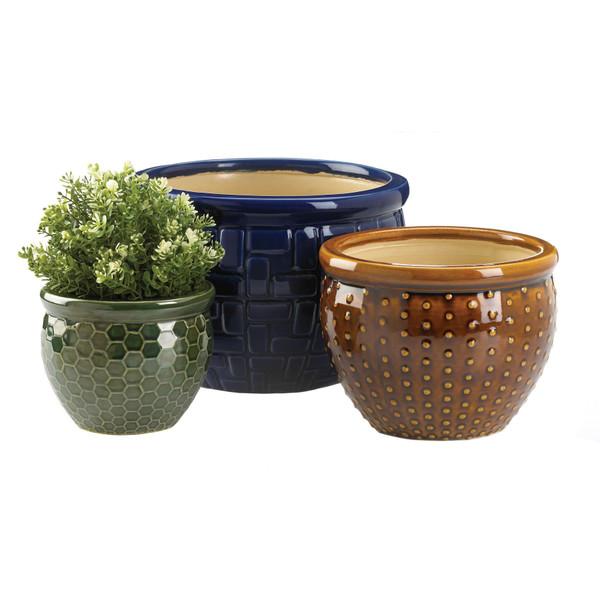 designer trio ceramic plant pots