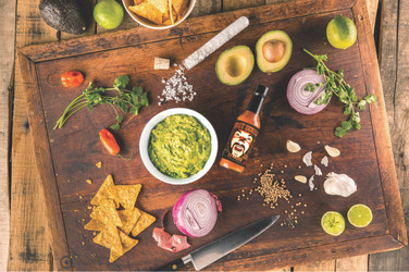 Spicy Guacamole Made with Ghost Pepper Hot Sauce
