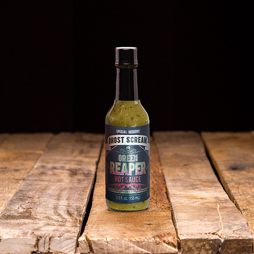 Green Reaper Hot Sauce Bottle.