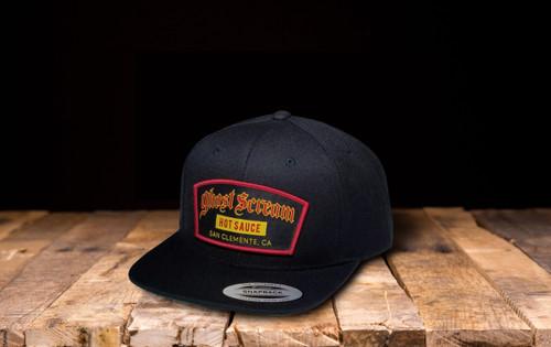 black branded hat