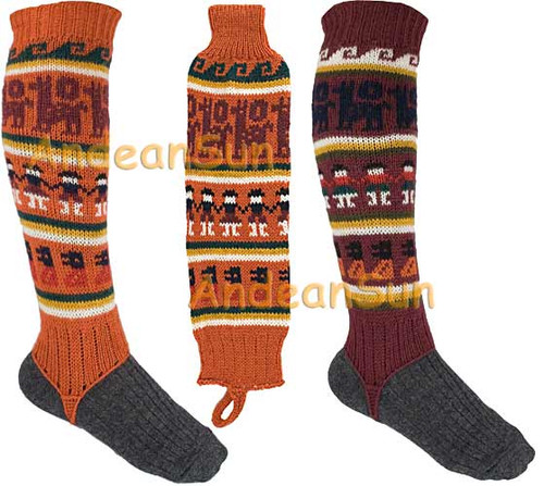 Full Color Alpaca Leg Warmers with Alpaca Motif - 16481101