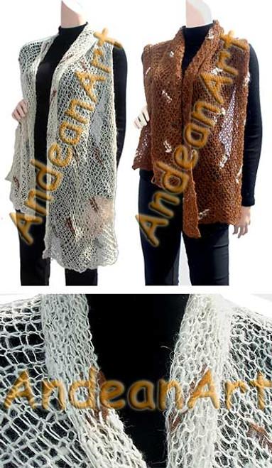 "100% Alpaca Scarf ""Web"" (HandSpun - HandKnitted - UNDYED Natural Alpaca Colors) - Rustic Quality - 16772203"