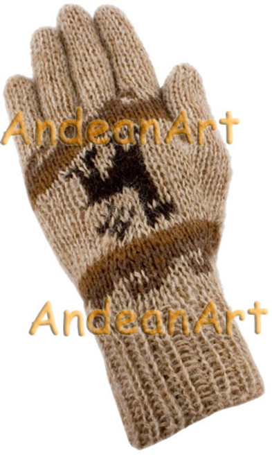 100% Alpaca Gloves with Andean Motif (HandSpun - HandKnitted - UNDYED Natural Alpaca Colors) - Rustic Quality