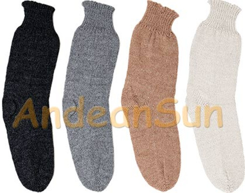 Solid Color Crew Alpaca Socks - Natural - 16713301