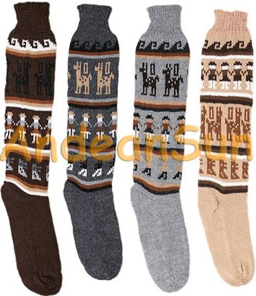 Alpaca Motif Tall Alpaca Socks - Natural - 16712201