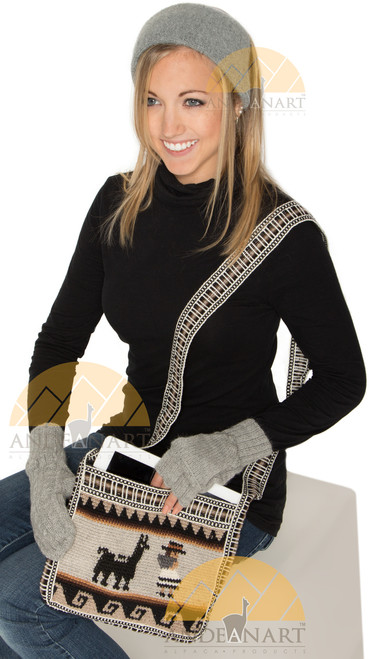 Crossbody Long Strap Crochet Alpaca Wool Shoulder Bag with Andean Motif - 16242201