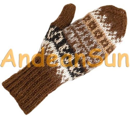 100% Alpaca MITTENS with Andean Motif (HandSpun - HandKnitted - UNDYED Natural Alpaca Colors) - 16783204
