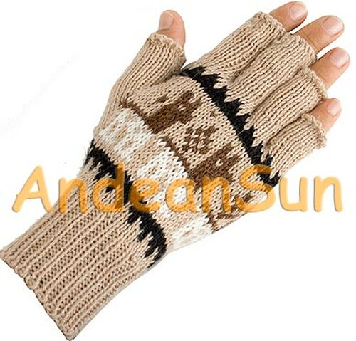 Fingerless Alpaca Gloves with Alpaca Motif - Natural - 16783201