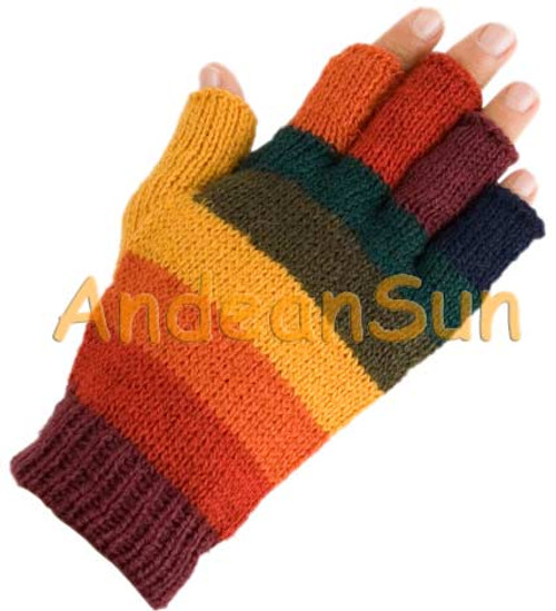 Fingerless Full Color Striped Alpaca Gloves - Earth - 16783210