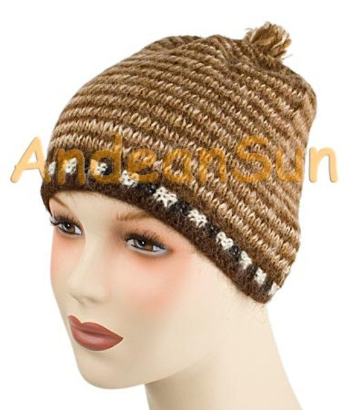 "100% Alpaca BEANIE Hat ""Striped"" (HandSpun - HandKnitted - UNDYED Natural Alpaca Colors) - Rustic Quality - 16751706"