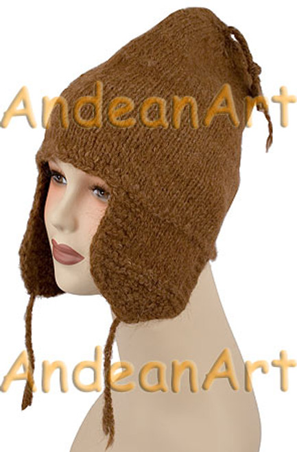100% Alpaca CHULLO / Chuyo hat with ear flaps SOLID COLORS (HandSpun - HandKnitted - UNDYED Natural Alpaca Colors) - Rustic Quality - 16751704