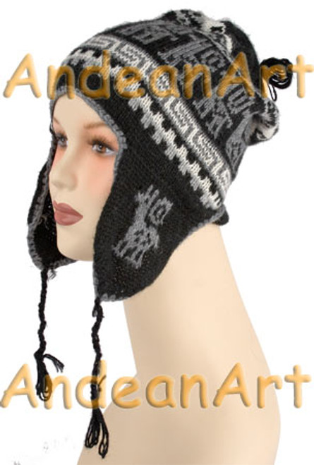 Ear Flap Alpaca Hat with Alpaca Motif - Natural Color - 16752201