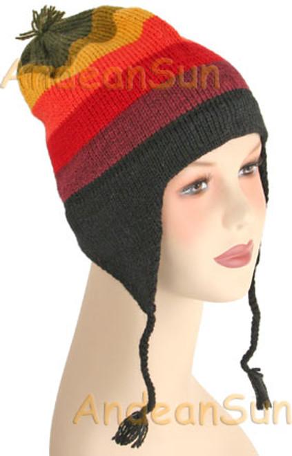 Striped Ear Flap Alpaca Hat - Earth Color - 16752210