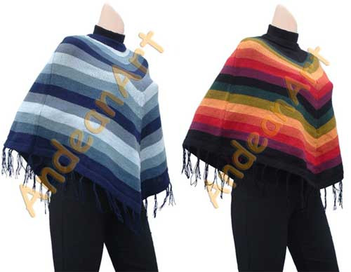 """Striped Alpaca Poncho """"Fire"""" - Earth Colors - 16862204"""