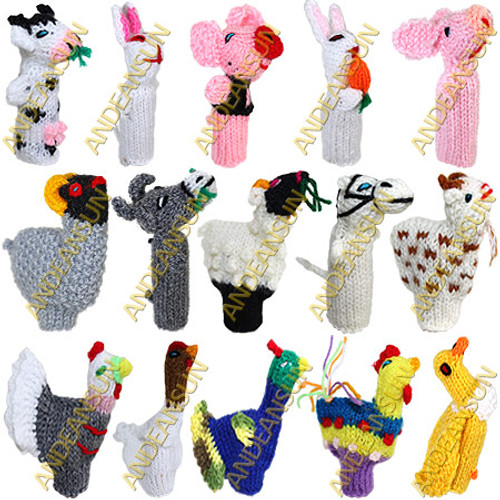 FP - Farm - RAW - Rustic Quality - Hand Knitted Finger Puppets - US STOCK