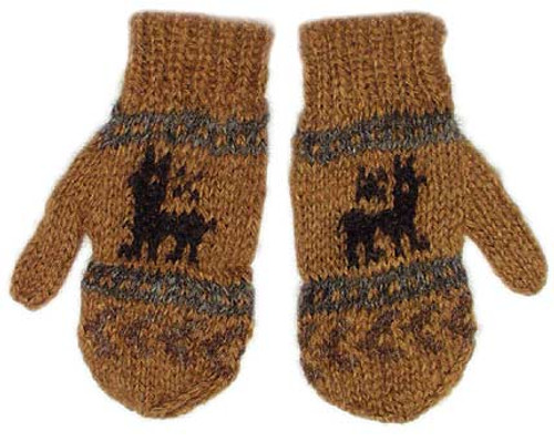100% Alpaca KIDS MITTENS with Andean Motif (HandSpun - HandKnitted - UNDYED Natural Alpaca Colors) - Rustic Quality