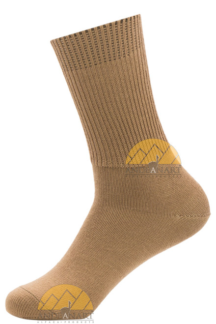 Men's Dress Alpaca Socks - Ribbed Crew by AndeanSun - Camel - 16711701