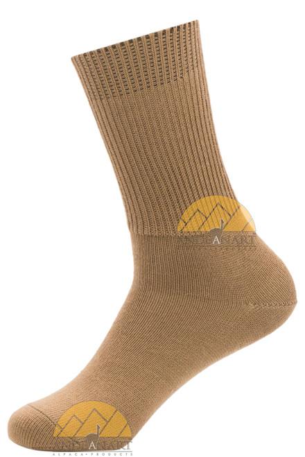 Men's Dress Alpaca Socks - Ribbed Crew by AndeanSun - Camel - 16711701