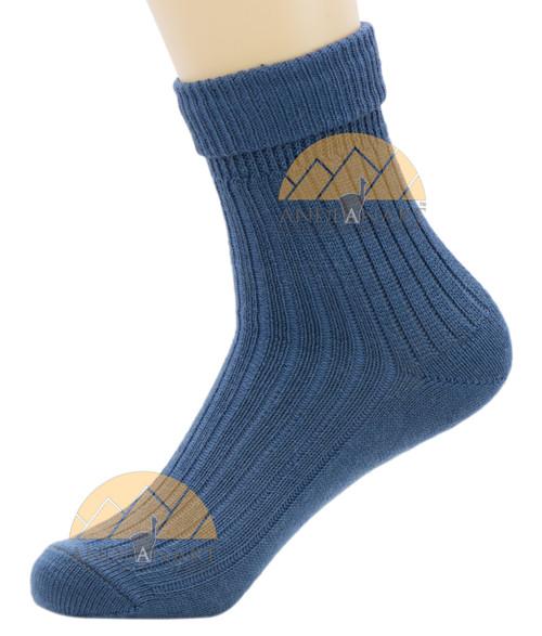 Women's Ribbed Crew Alpaca Socks by AndeanSun - Steel Blue - 16711705