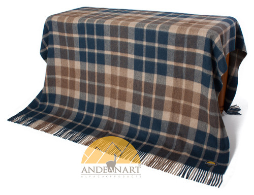 Alpaca Checkered Throw - Blanket by AndeanSun - Navy Blue and Beige