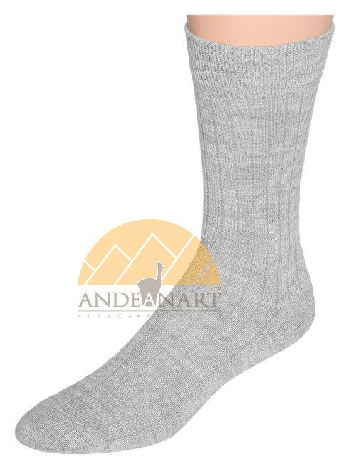 Wide Ribbed Alpaca Dress Socks by AndeanSun - Ash Light Grey - 16711713