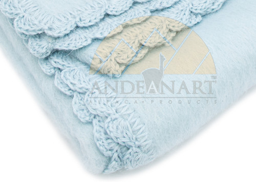 Light Blue (detail) Alpaca Blanket for Babies with Hand Crocheted Scalloped Trim - Alpaca Carrasco - Light Blue - 16891704