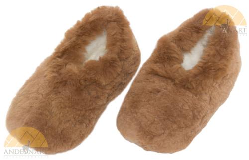 Alpaca Fur Collar Slipper Hand Sewn - Shoe Style - Beige - 72911703