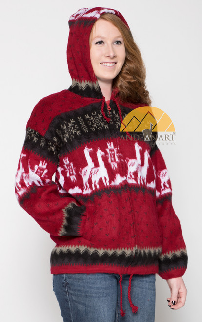 Alpaca Motif Heavyweight Full-Zip Hoodie Jacket - FAUX Alpaca - Dark Red - 16264001