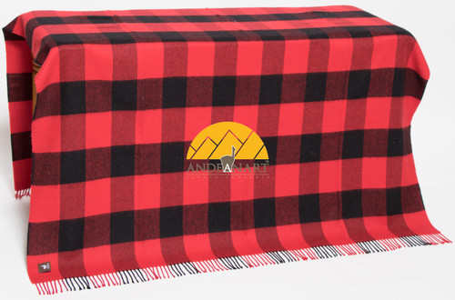 Buffalo Plaid Lap Throw Alpaca AND ACRYLIC Blend Blanket by Alpaca Carrasco - Red and Black - 16893602