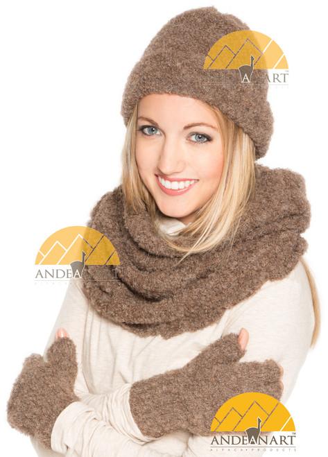 Boucle Fold Over Beanie Alpaca Hat - Light Rose Brown - 16752223