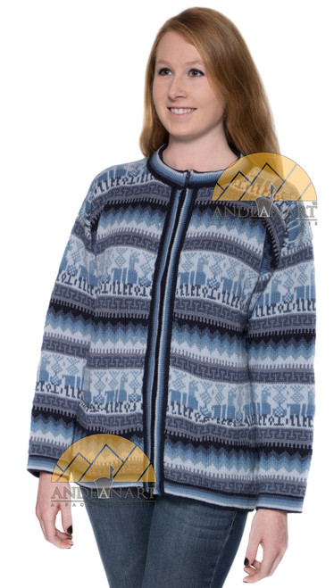 Alpaca Motif Crew Neck Zip-Up Cardigan with pockets - Alpaca Sweater - Alpaca Blend - US STOCK