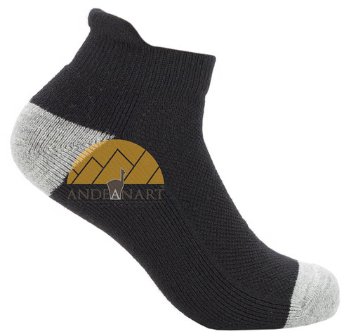 Alpaca Running Cushioned Tab Ankle Socks VERSION 2.0 - AndeanSun - Black and Light Grey - 16711730
