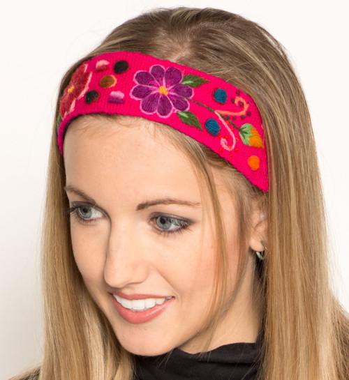 Hand Embroidered Wool Headband - Flowers by Alpaca Carrasco - US Stock