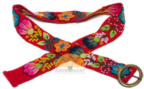 Hand Embroidered Wool Belt - Flowers by Alpaca Carrasco - US Stock