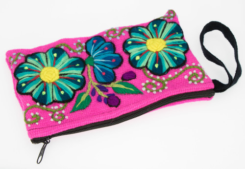 Hand Embroidered Wool Wristlet - Flowers by Alpaca Carrasco - US Stock
