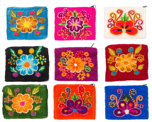 Hand Embroidered Wool Coin Purse - Flowers by Alpaca Carrasco - US Stock