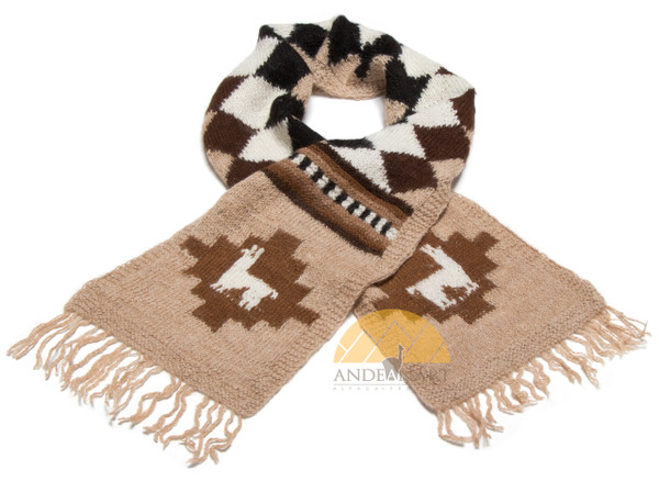 100% Alpaca Scarf with Andean Motif (HandSpun - HandKnitted - UNDYED Natural Alpaca Colors) - Rustic Quality - 16772201