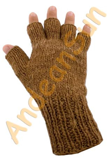 100% Alpaca FINGERLESS Gloves SOLID COLORS (HandSpun - HandKnitted - UNDYED Natural Alpaca Colors) - Rustic Quality